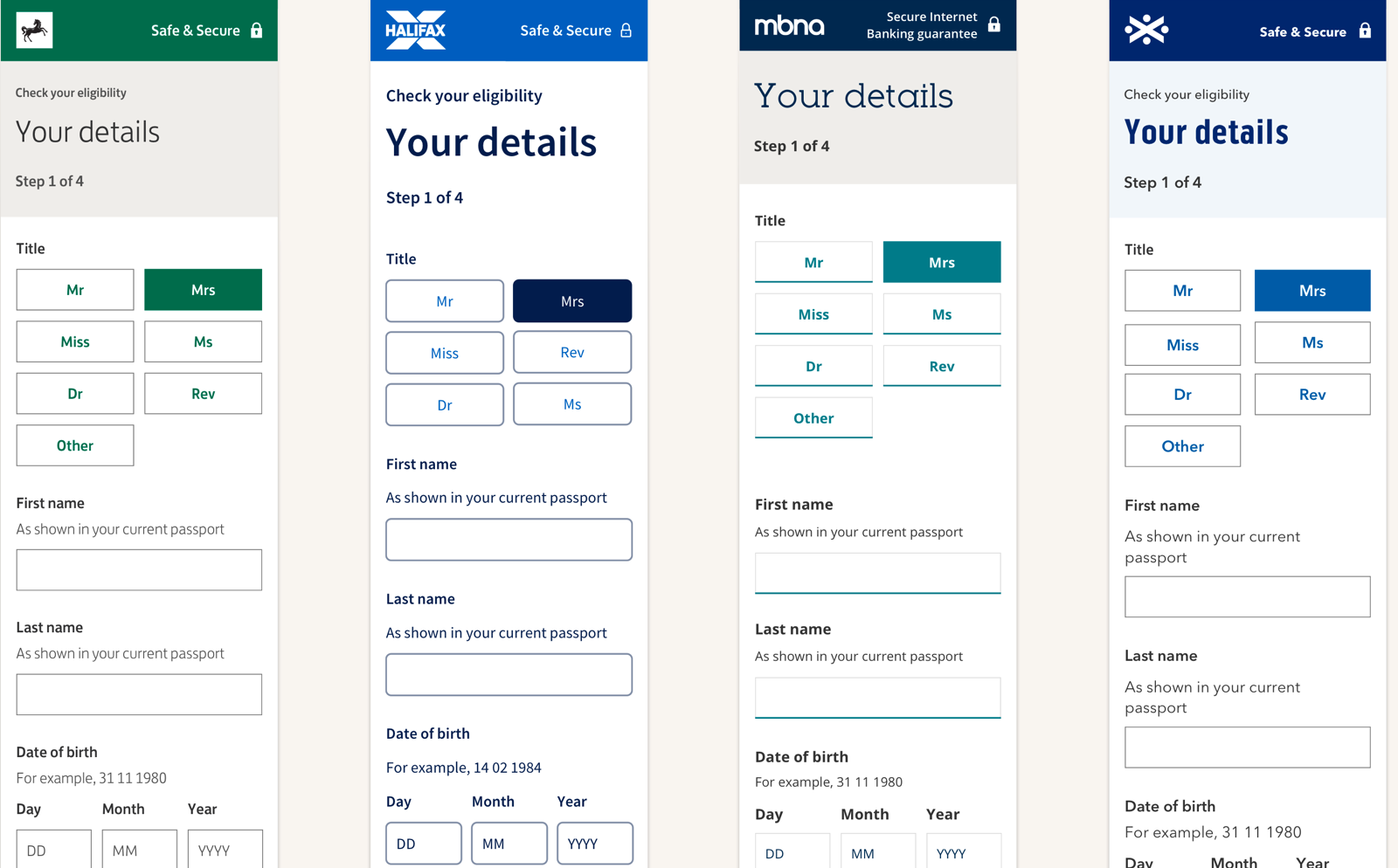 Image showing a screen shot of a bank eligibility screen in 4 different brands.